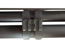 Barrel clamp. Isolated barrel clamp that is on a semi automatic shotgun Stock Photo