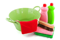 Barrel with cleaning products Royalty Free Stock Photos
