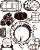 Barrel Collection. A clip art collection of beer and wine barrels vector illustration