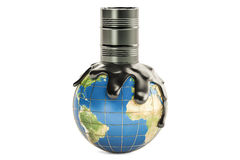 Barrel with crude oil spilled on the Earth globe, oil production. Concept. 3D rendering isolated on the white background royalty free illustration
