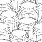 Barrel and cup seamless background. Vector Royalty Free Stock Photography