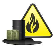 Barrel, deux boîtes métalliques avec du carburant renversé et signe de danger illustration de vecteur