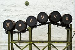 Barrel Display at Ardbeg stock photography