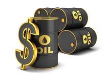 Barrel Erdöl- und Dollarzeichen Stockbild