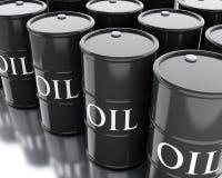 Barrel Erdöle des Schwarzen 3d Die goldene Taste oder Erreichen für den Himmel zum Eigenheimbesitze stock abbildung
