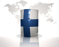 Barrel with finnish flag on the world map. Background Stock Photo