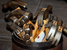 Barrel full of Antique Claw Hammers Royalty Free Stock Photos