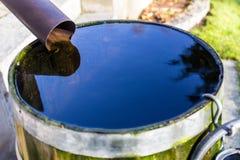 Rainwater in a barrel. A barrel full of rainwater in a garden Royalty Free Stock Photos