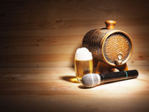 Barrel and glass of beer, microphone on wooden background. concept karaoke Royalty Free Stock Photos