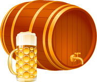 Barrel Glass Beer. Small set for a holiday of Oktoberfest: a beer barrel and a glass with beer. EPS-8 stock illustration