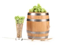 Barrel and glass with hop barley. Stock Photography