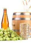 Barrel and glass with hop barley. Stock Images