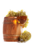 Barrel and a glass of white wine Stock Photography