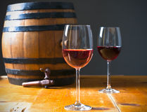 Barrel and glass wine Royalty Free Stock Photos