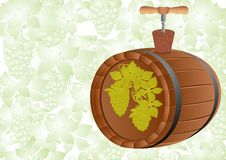 Barrel of grape wine and corkscrew Stock Photography