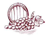 Barrel and grapes. Illustration - a barrel of wine and a bunch of grapes Stock Images