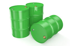 Barrel green. Green metal barrels on a white background Stock Photography
