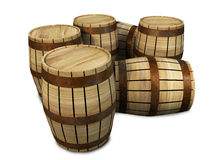 Barrel Group. A group of 3D wooden barrels placed on a white background Vector Illustration