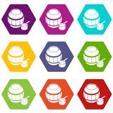Barrel honey icons set 9. Barrel honey icons 9 set coloful isolated on white for web vector illustration
