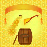 Barrel of honey. Vector image barrel with honey and spoon on a background banner with flowers stock illustration