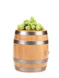 Barrel with hop on top. Stock Photo