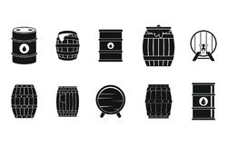 Barrel icon set, simple style. Barrel icon set. Simple set of barrel vector icons for web design isolated on white background Stock Photo