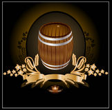 Barrel kvass beer wine. The is barrel of beer or wine with corn and pattern and banner for advertising Stock Photos