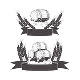 Barrel label in wheat ears. Royalty Free Stock Images