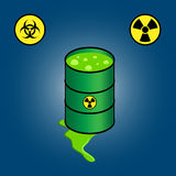 Barrel leaking toxic waste +  icons of biohazard and radioactivity. Picure of a barrel leaking green toxic radioactive waste + icons representing biohazard and Royalty Free Stock Photo