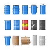 Barrel les tonneaux à huile de vecteur avec du carburant et vin ou bière barreled dans l'embarillage en bois d'alcool d'illustrat Photo libre de droits