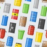 Barrel les tonneaux à huile de vecteur avec du carburant et vin ou bière barreled dans l'embarillage en bois d'alcool d'illustrat illustration stock