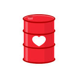 Barrel of love. Red iron barrel with  heart. Supply of love. Ele Stock Photo