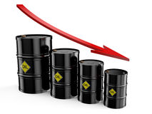 Barrel low price. Down bar chart from black oil barrels  isolated over white background Royalty Free Stock Photo