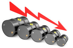 Barrel lower. Oil barrels on the price chart, falling price of oil concept vector illustration