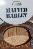 Barrel of malted barley, Dublin, Ireland, 2015. Brown barrel of malted barley on the tour through the Old Jameson Distillery in Dublin Stock Images