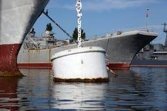 Barrel for mooring ships Royalty Free Stock Photo