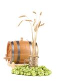 Barrel mug with hop and barley. Isolated on a white background Stock Photo