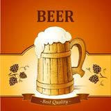 Barrel mug with wheat and hops. Vector illustration Royalty Free Stock Images