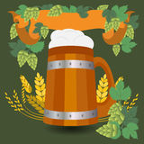 Barrel mug with wheat and hops Royalty Free Stock Images