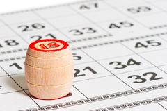 Barrel with the number 18 on the playing cards Stock Photo