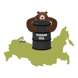 Barrel of oil on background maps of Russia. Flag of Russian Fede Stock Photo