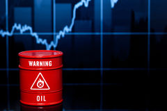Barrel of oil on blue chart. Red barrel of oil on blue chart Stock Image