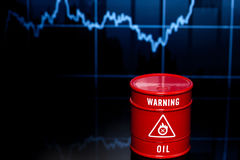 Barrel of oil on chart Stock Photos