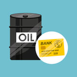 Barrel oil concept credit card bank Stock Photo