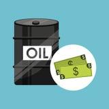 Barrel oil concept money bills Stock Photo