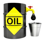 A barrel of oil with a crane. 3D rendering stock illustration