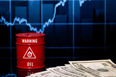 Barrel of oil and dollar Royalty Free Stock Images