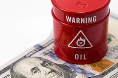 Barrel oil, dollars Royalty Free Stock Photos