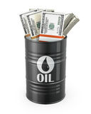 Barrel of oil with dollars inside Royalty Free Stock Image