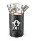 Barrel of oil with dollars inside. On white background stock illustration